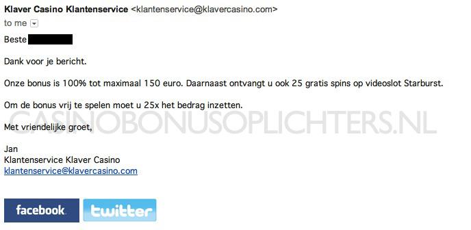 Screenshot van email